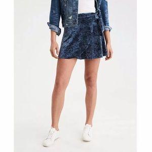 Dresses & Skirts - AE BLUE VELVET WRAP SKIRT